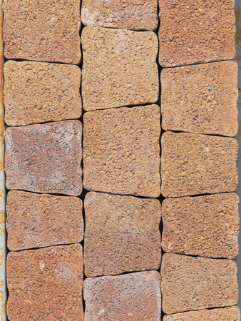 nonslip: terracotta textured paving tiles imitating stone walkway with jagged edges