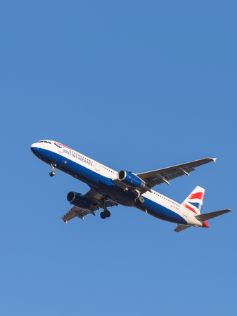 march 17: Domodedovo - March 17, 2015: Beautiful passenger aircraft Airbus A321, the airlines British Airways, landing at Domodedovo airport March 17, 2015, Domodedovo, Moscow Region, Russia