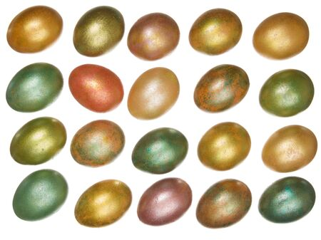 brightly colored Easter eggs arranged in rows isolated on a white background photo