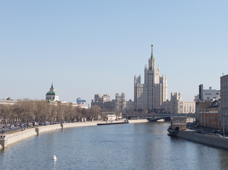 kotelnicheskaya embankment: Moscow - April 12, 2015: Nice view of the Moscow River from its embankments and the famous house on the waterfront Kotelnecheskoy April 12, 2015, Moscow, Russia