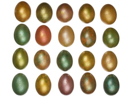 priceless: bright colorful easter yellow, green, red, pink eggs arranged in rows isolated on a white background