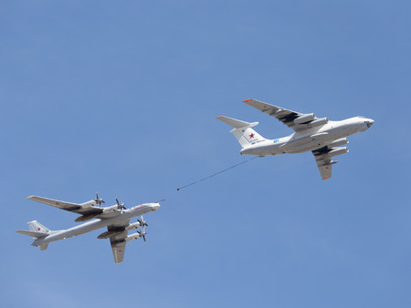 midas: Moscow - May 7th, 2015: the plane Il-78 Tu-95MC runs fuel May 7, 2015, Moscow, Russia