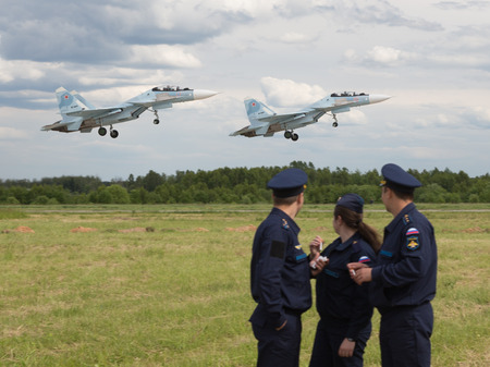 military watch: Moscow Region - June 17, 2015: Military watch flight of military aircraft at the international military-technical forum Army 2015 at the airfield Kubinka June 17, 2015, Moscow Region, Russia Editorial
