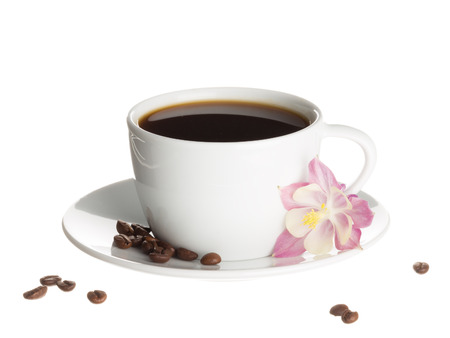 catchment: Coffee in white cup and saucer on which lays a pink flower catchment and coffee beans isolated on white background