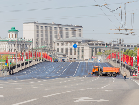 wheel house: Moscow - May 7th, 2015: Big Stone bridge decorated with red flags and closed on a rehearsal of the Victory Parade in Moscow on May 7, 2015, Moscow, Russia Editorial