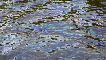 overflows: spot of gasoline colored film on the surface of the water in the river polluting the environment and disrupts