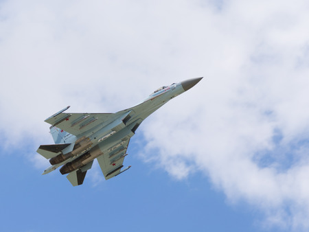 supersonic transport: Moscow Region - June 17, 2015: Flight of the Russian Su-27 demonstrations at air shows in Kubinka June 17, 2015 Moscow region, Russia