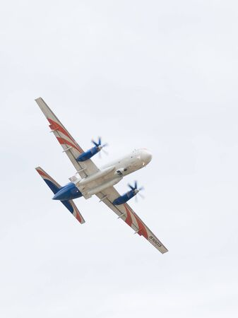 il: The Moscow region - 17 June 2015: Beautiful plane IL RADAR 114 in flight at an air show in Kubinka June 17, 2015, Moscow Region, Russia Editorial