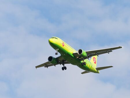 spar: Moscow - August 6, 2015: A passenger Airbus A320-214 S7 Airlines is landing at Domodedovo airport weather is nice, August 6, 2015, Moscow, Russia