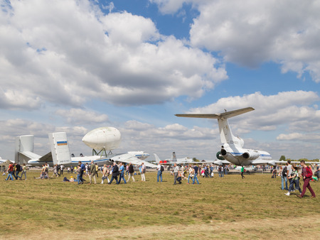 clothes interesting: The Moscow region - August 28 2015: A lot of people visited the exhibition of vintage aircraft at the air show in Zhukovsky Max 2015 August 28, 2015, Zhukovsky, Moscow Region, Russia