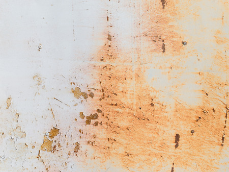 paint: old rusty metallic surface painted wall with peeling paint chipping Stock Photo