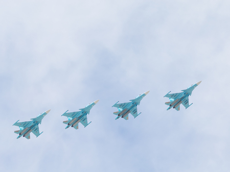 may 9: Moscow - May 9, 2015: Victory Parade in Red Square and four modern Su-34 in the sky May 9, 2015, Moscow, Russia