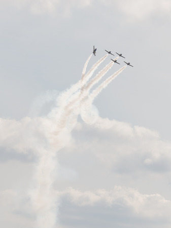 mutually: The Moscow region - August 28 2015: aerobatic team Rus on combat training aircraft L-39 Albatros in the airshow Max 2015 August 28, 2015, Zhukovsky, Moscow Region, Russia
