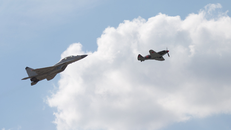 mig: The Moscow region - August 28 2015: the MiG 35 and MiG 3 fly in a demonstration flight at an air show Max 2015 August 28, 2015, Zhukovsky, Moscow Region, Russia