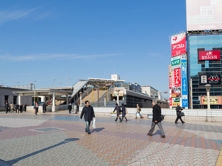 good weather: Tokyo - 4 February 2015: Pedestrian crossing in the area of Ueno in Tokyo and people go in good weather February 4, Tokyo, Japan