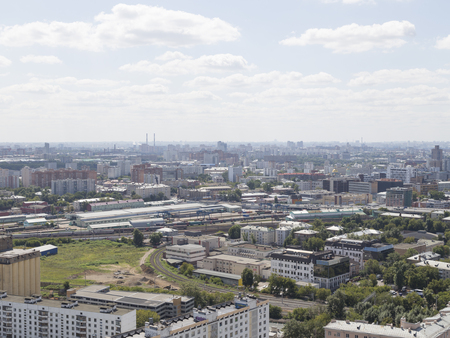 june 25: Moscow - 25 July 2015: Aerial view of Moscow and the distance of the visible area of the TTC and Sokolniki June 25, 2015, Moscow, Russia Editorial
