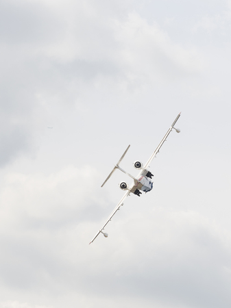 mutually: The Moscow region - August 28 2015: Patrol search and rescue amphibious aircraft Be-200, the kind of put off, in flight at an air show August 28, 2015, Zhukovsky, Moscow Region, Russia
