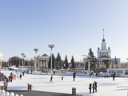 enea: Moscow - November 28, 2015: A lot of happy people rest and ice-skating in a wonderful park ENEA and visible gold fountain Friendship of Peoples November 28, 2015, Moscow, Russia