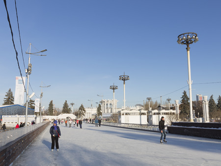 enea: Moscow - November 28, 2015: A lot of people are skating on the huge rink in the park ENEA November 28, 2015, Moscow, Russia