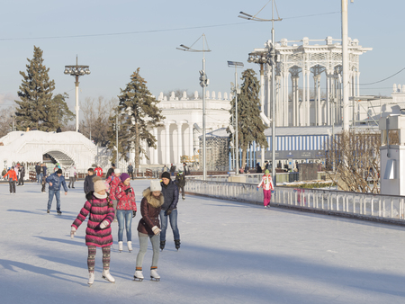 enea: Moscow - November 28, 2015: A lot of happy people relax and skate the long ice track in a large wonderful park ENEA winter November 28, 2015, Moscow, Russia Editorial