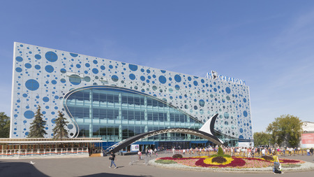 enea: Moscow - August 24, 2015: A lot of people came to view in Moscow oceanarium Moskvarium at ENEA opened in the summer of August 24, 2015, Moscow, Russia