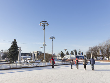 enea: Moscow - November 28, 2015: A lot of happy people relax and ride to the rink in a wonderful park ENEA winter November 28, 2015, Moscow, Russia Editorial