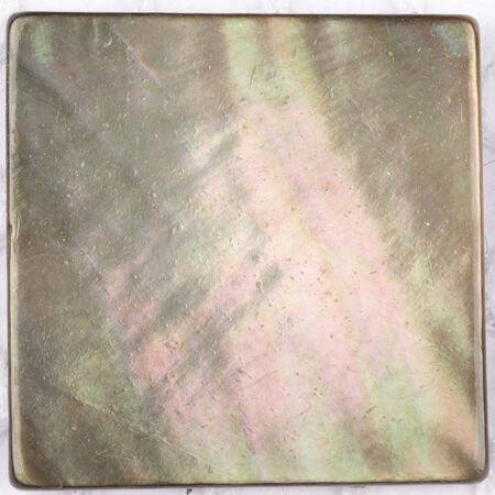 inclusions: rare natural black pearl with iridescent tints and inclusions in the form of a square plate for mosaic