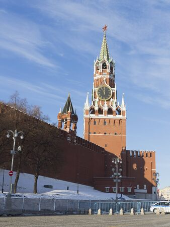 spasskaya: Moscow - November 29, 2015: A view of the Spasskaya Tower of the Moscow Kremlin in the morning and snow is November 29, 2015, Moscow, Russia