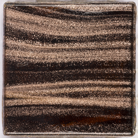 small glass square glossy dark brown with light Smalt blurred stripes aventurine