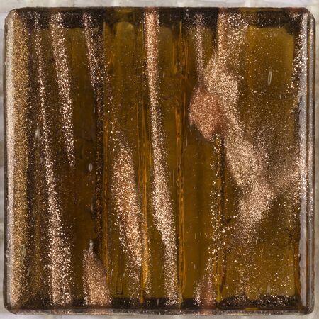 aventurine: beautiful square glass mosaic translucent brown with splashes of brilliant aventurine