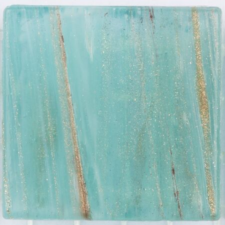 aventurine: beautiful turquoise satin square glass mosaic with patches of brilliant striped brown aventurine