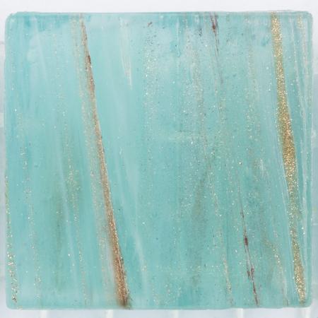 aventurine: pretty unusual matt square turquoise glass mosaic with patches of brilliant striped brown aventurine