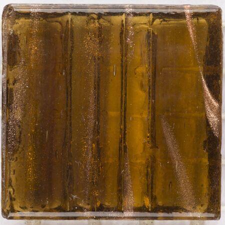 aventurine: beautiful square glass mosaic translucent honey brown with splashes of brilliant aventurine