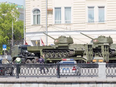parade of homes: Moscow - May 7th, 2015: Transportation of large tanks on special platforms for the Victory Day parade on Red Square in the center of the city May 7, 2015, Moscow, Russia