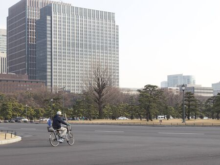 impregnable: Tokyo - January 27, 2015: Cyclist riding a bike on a paved road in the area of Chiyoda, green pine and modern tall buildings in the city center January 27, 2015, Tokyo, Japan