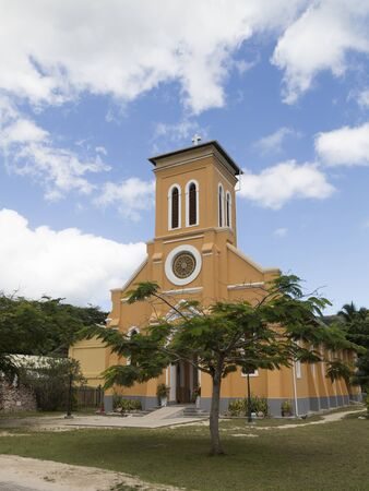 la digue: Seychelles - November 9, 2014: The only Catholic Church on the island of La Digue is located in the center of the island on Nov. 9, 2014, La Digue, Seychelles