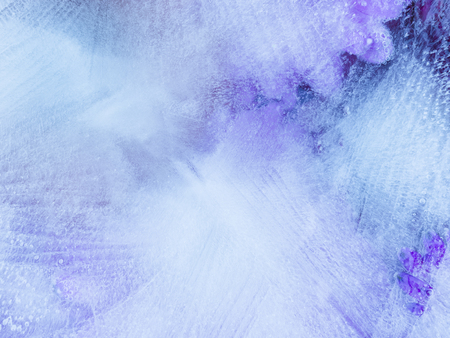 solid state: Beautiful blue-violet organic abstraction with thin ice and a lot of air bubbles Stock Photo