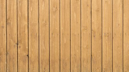 nailed: old wall of wooden pine boards with knots treated yellow transparent stain on wood