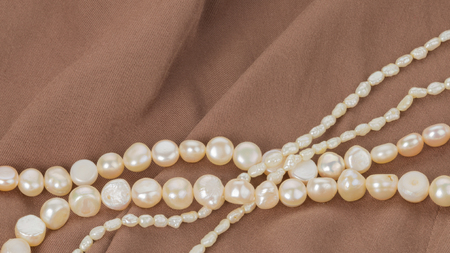 freshwater pearl: beautiful white pearl beads on brown fabric with pleats