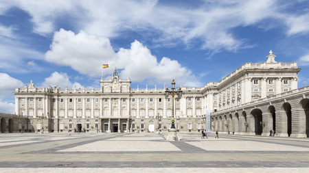 armory: Madrid - 6 October 2015: Big, beautiful huge Armory Square Royal Palace of Madrid and the people walking and exploring the sights October 6, 2015, Madrid, Spain