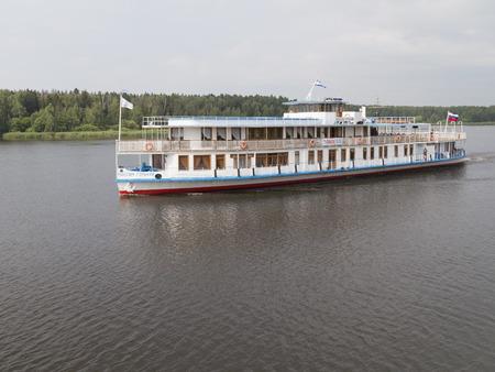 salina: The Moscow region - July 9, 2015: Historic Executive ship Maxim Gorky - a personal Joseph Salina pyvet ship channel July 9, 2015, Moscow Region, Russia