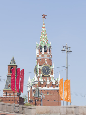 spassky: Beautiful Kremlins Spassky Tower clock - chimes with Ruby star on the tower and the red and orange flags