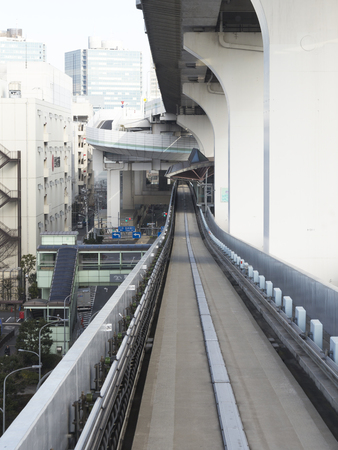 4 of a kind: Tokyo - 4 February 2015: Monorail to Odaiba - convenient and fast modern unusual kind of urban transport February 4, 2015, Tokyo, Japan Editorial