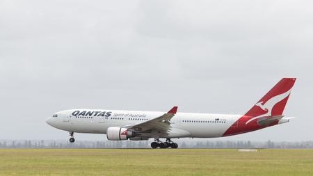 Sydney - February 26, 2016: Large passenger plane Airbus A330-203 Qantas Airways with kangaroo painted on the tail, landing at the airport in Sydney February 26, 2016, Sydney, Australia