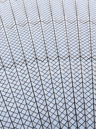 under the influence: large light gray surface of the roof of Sydney Opera House from clay tiles azulezhu white and matte cream color, with rough joints and seams, Sydney, Australia