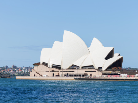 utzon: Sydney - February 27, 2016: Beautiful amazing Sydney Opera House with an unusual roof, with views of the Gulf, February 27, 2016, Sydney, Australia Editorial
