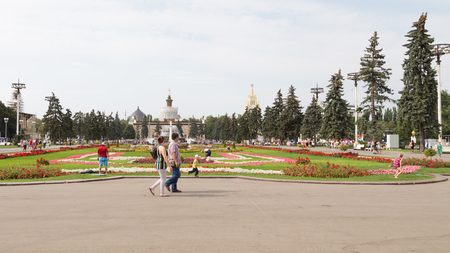 enea: Moscow - August 13, 2015: ENEA Beautiful park in the summer and a lot of happy people with children going to the park for a walk August 13, 2015 Moscow, Russia