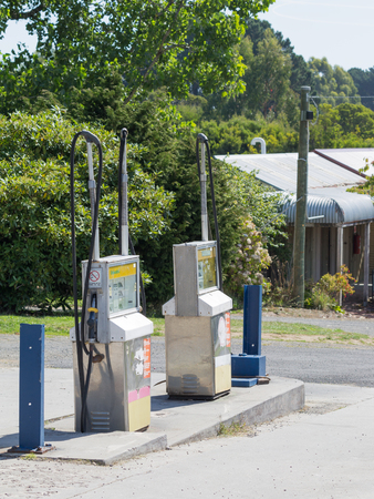 refilling: Victoria - March 4, 2016: Two filling machine for the filling of petrol at a petrol station in Victoria March 4, 2016, Victoria, Australia
