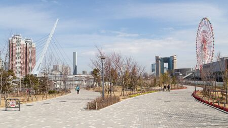 walk in: Tokyo - 7 February 2015: The new modern district of Tokyo - Odaiba and beautiful park with paved walkways, amusement and people walk in good weather 7 February, Tokyo, Japan