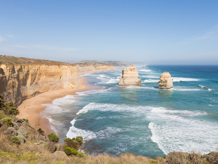 salty: salty sea waves run on the beautiful rocky coast of large stones along the Great Ocean Road and rocks 12 Apostles Victoria, Australia